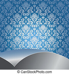 Blue and silver background - Blue background with flowers...
