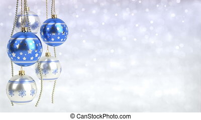 blue and silver christmas balls hanging on bokeh background. Seamless loop. 3D render