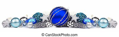 Blue and silver Christmas border isolated on white -...