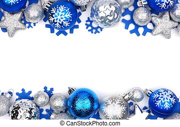 Christmas double border of blue and silver ornaments isolated on a white background