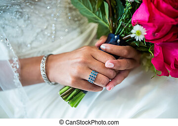 Blue and Silver Wedding Ring