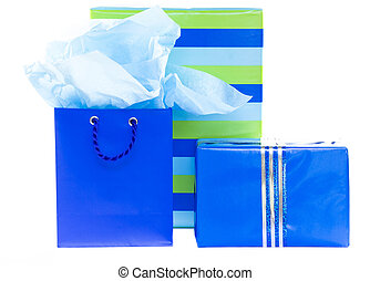 Blue and striped presents and gift bag