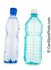 blue and turquiose bottle with water isolated on a white...