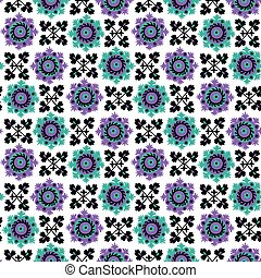 blue and violet floral seamless pattern inspired by traditional asian carpet embroidery Suzanne.