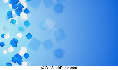 blue and white 3D cubes loopable background