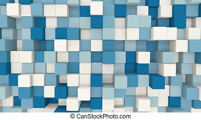 blue and white 3D cubes loopable geometric background
