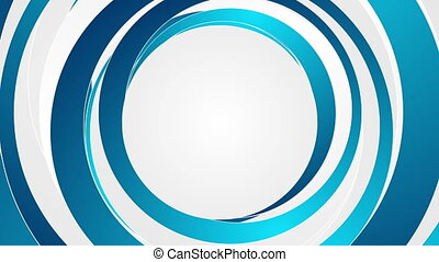 Blue and white abstract circles video animation