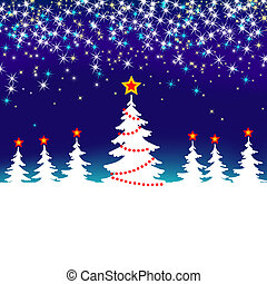 Blue and White Abstract Winter Forest Background with Stars Christmas Seasonal Tree
