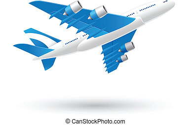Blue and White Airplane Icon