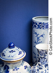 Blue And White Antique Style Ceramic Vase