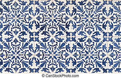 Ancient blue and white tile work, called azulejos