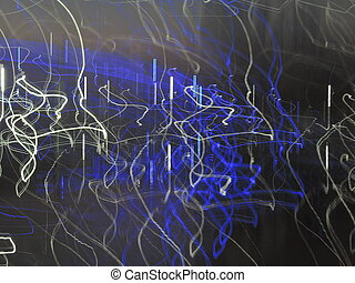 blue and white beams light painting