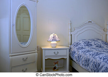 Blue and White Bed Room