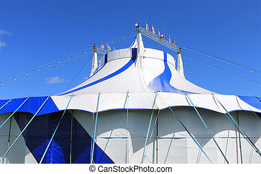 Blue and white big top circus tent