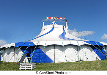 Blue and white big top tent