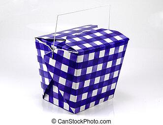 Blue and White Carton