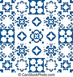 Blue and white portuguese azulejos ceramic tiles. Patchwork pattern style.