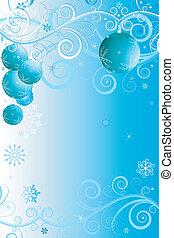 Blue and white christmas frame