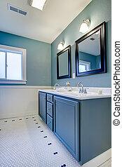 Blue and white classic modern new bathroom.