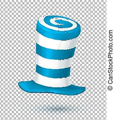 Blue and white colors striped realistic vector carnival hat...