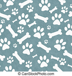 Blue and White Dog Paw Prints and Bones Tile Pattern Repeat ...