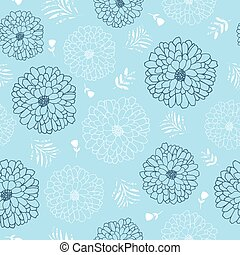 Blue and white flowers seamless repeat pattern. Perfect for backgrounds, wallpaper, textile design and home decor. Vector illustration.