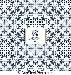 Blue and white geometric pattern. Minimal pattern. Vintage. Great for fabric and textile, flyer, banner, business cards, wallpaper, packaging or any desired idea.