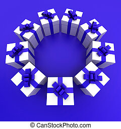 Blue and white gift boxes circle