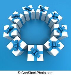 Blue and white gift boxes circle2