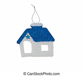 Blue and white home with glittering star Christmas ornament isol