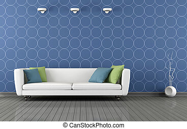 Blue and white modern lounge