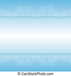 Blue and white ornamental floral stripes. Lace ribbon. Element of the pattern of small spirals
