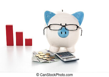 Blue and white painted piggy bank wearing glasses with calculator and cash and red graph in background