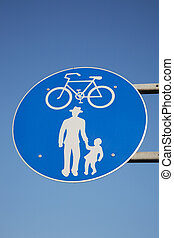 Blue and White Pedestrian and Cycling Sign