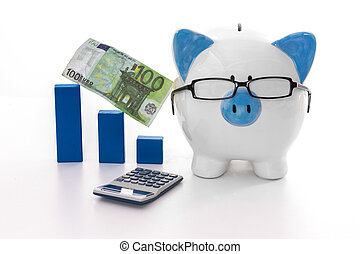 Blue and white piggy bank wearing glasses with calculator
