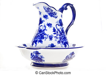Blue and White Pottery Pitcher and