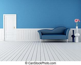 blue and white retro interior - modern blue sofa in a retro...