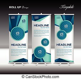 Blue and white Roll Up Banner template vector illustration, polygon background, banner design, standy template, roll up display, advertisement, Blue background, template
