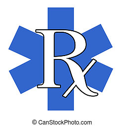 Blue and White RX - A blue and white RX illustration