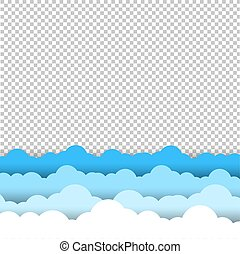 Blue And White Sky Clouds Border Transparent Background