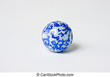 Blue and white speckled glass marble - A very interesting...