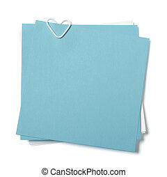 blue and white sticky notes with paper clip in shape of...