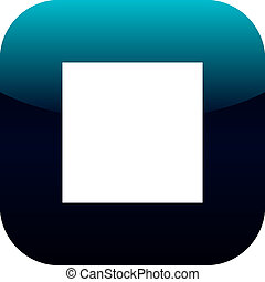 blue and white stop square icon