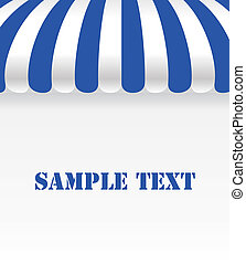Blue and white strip shop awning with space