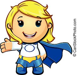 Blue And White Super Girl - A cartoon illustration of a ...