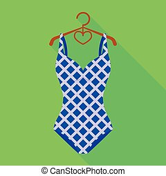 Blue and white swimsuit for competitive swimming. Swimsuit with checkered pattern.Swimcuits single icon in flat style vector symbol stock illustration.
