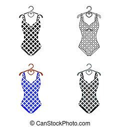Blue and white swimsuit for competitive swimming. Swimsuit with checkered pattern.Swimcuits single icon in cartoon style vector symbol stock illustration.