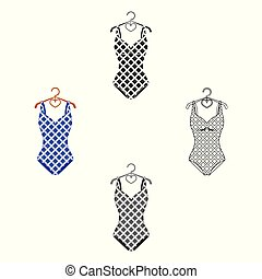 Blue and white swimsuit for competitive swimming. Swimsuit with checkered pattern.Swimcuits single icon in cartoon,black style vector symbol stock illustration.