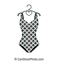 Blue and white swimsuit for competitive swimming. Swimsuit with checkered pattern.Swimcuits single icon in monochrome style vector symbol stock illustration.