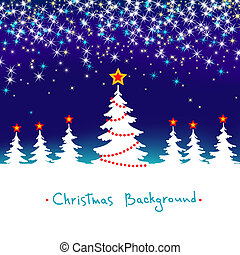 Blue and White Vector Abstract Winter Forest Background with Stars Christmas Seasonal Tree